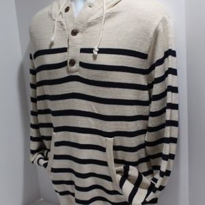 J Crew Nautical Stripe Knit Hoodie Sweater Cotton